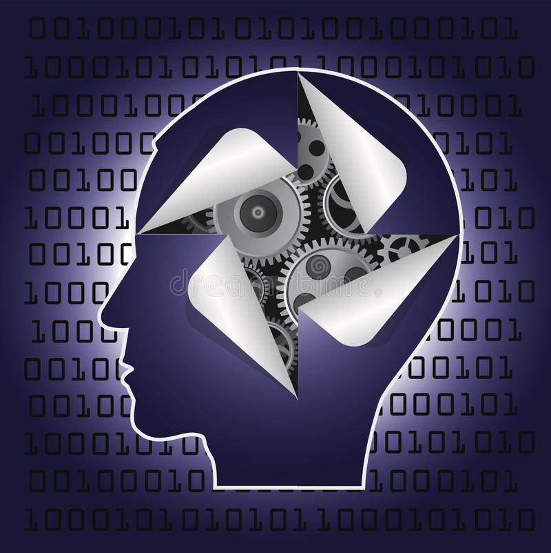 Αρσενικό κεφάλι με το εργαλείο και τους δυαδικούς κώδικες ελεύθερη απεικόνιση δικαιώματος