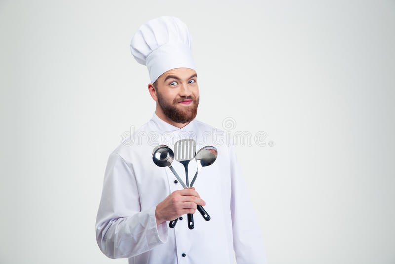 Αρσενικό κουτάλι εκμετάλλευσης μαγείρων αρχιμαγείρων στοκ φωτογραφία με δικαίωμα ελεύθερης χρήσης