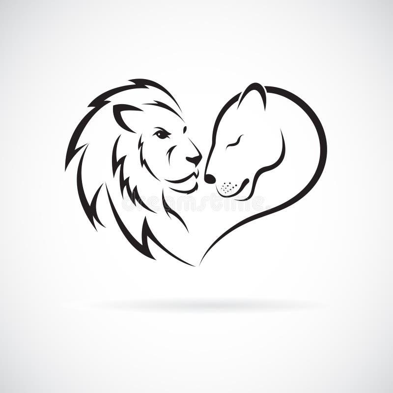 Αρσενικό λιοντάρι και θηλυκό σχέδιο λιονταριών στο άσπρο υπόβαθρο άγρια περιοχές ζώων Λογότυπο ή εικονίδιο λιονταριών Εύκολη edit απεικόνιση αποθεμάτων