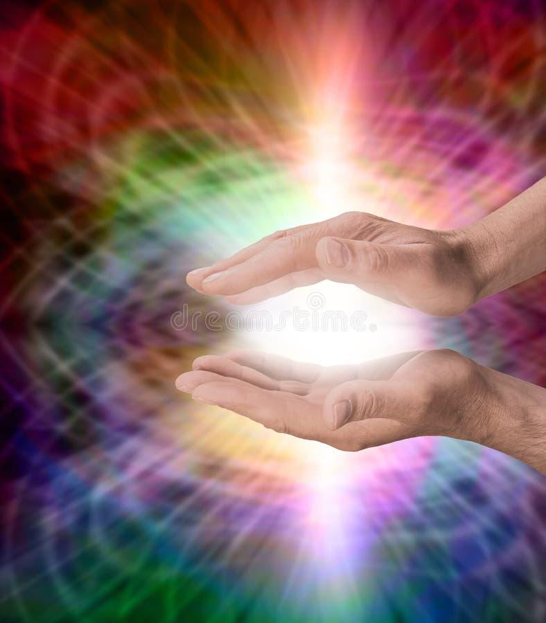 Αρσενικό με τη θεραπεύοντας ενέργεια ουράνιων τόξων διανυσματική απεικόνιση
