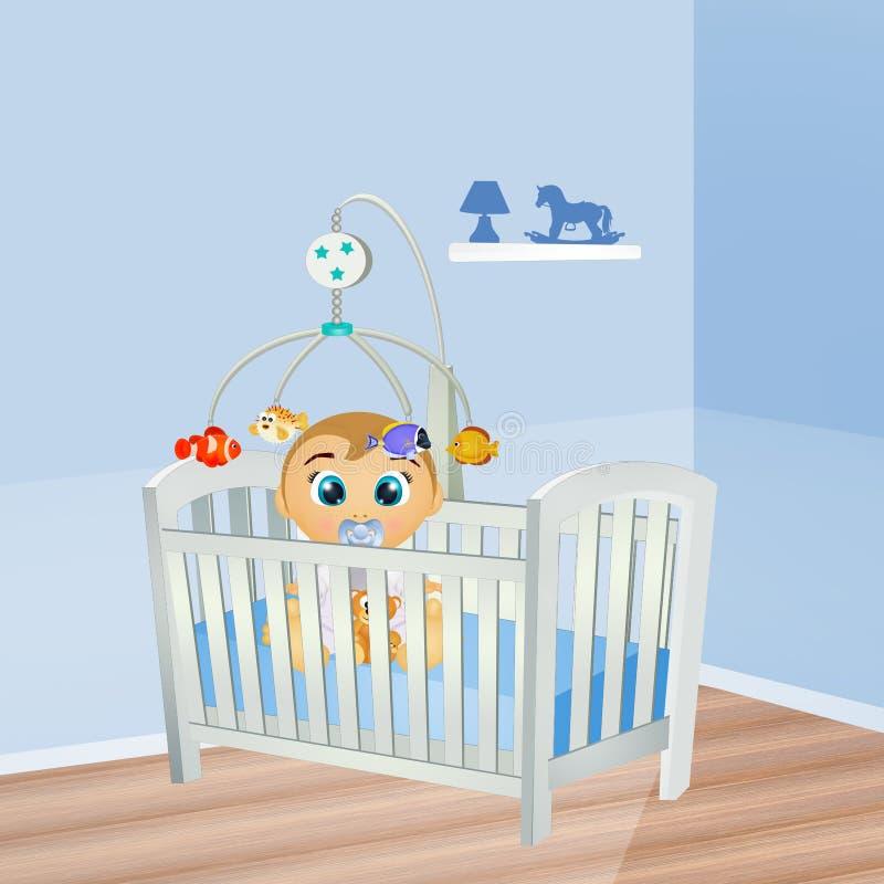 Αρσενικό μωρών στην κούνια διανυσματική απεικόνιση