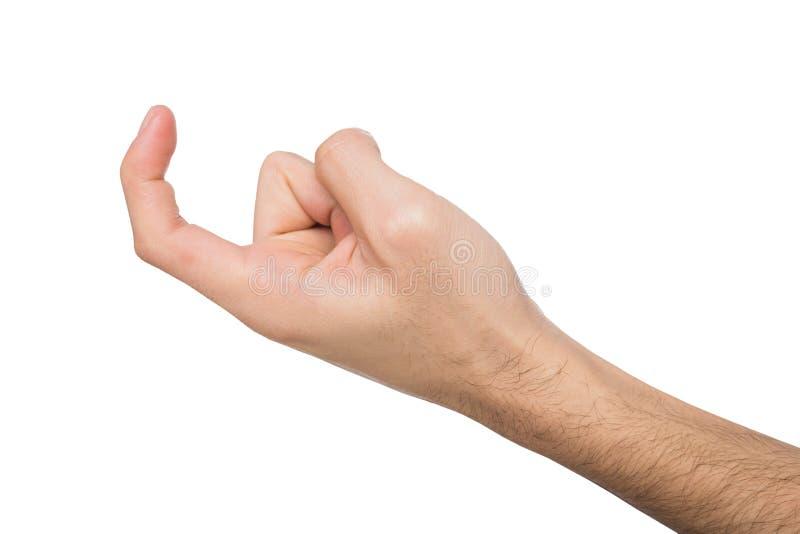 Αρσενικό νεύμα χεριών που απομονώνεται στο λευκό στοκ εικόνες