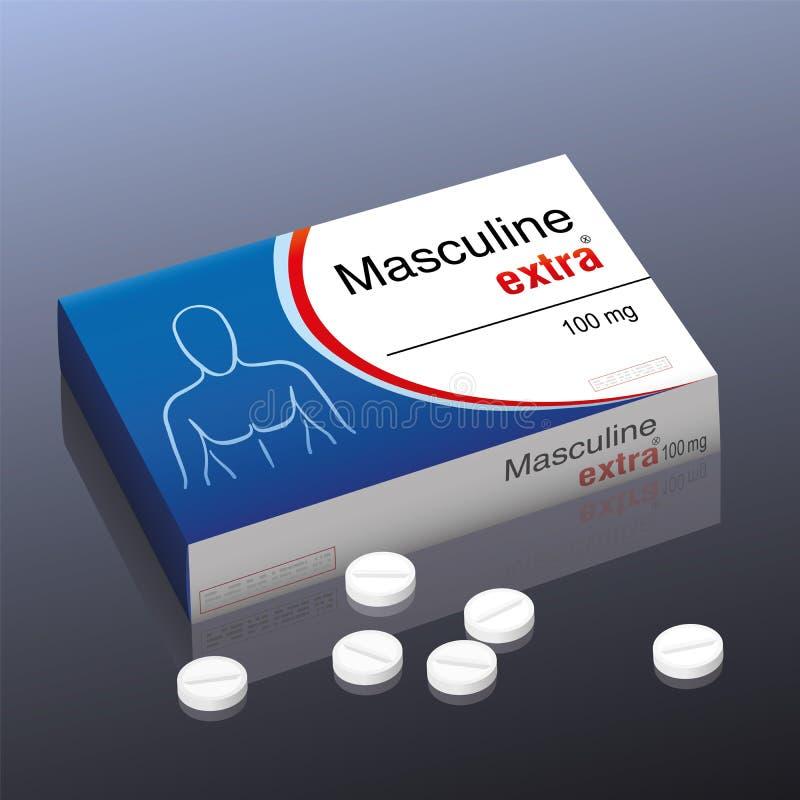 Αρσενικό πρόσθετο χάπι διανυσματική απεικόνιση