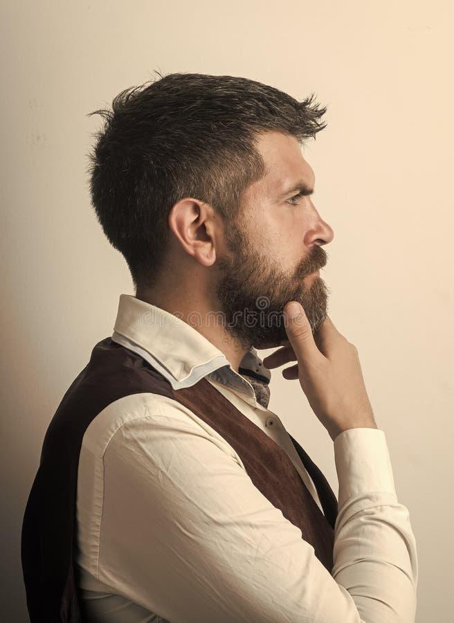 Αρσενικό πρόσωπο Ζητήματα που έχουν επιπτώσεις στο αγόρι Άτομο με τη μακριά γενειάδα και mustache στο στοχαστικό πρόσωπο στοκ φωτογραφία με δικαίωμα ελεύθερης χρήσης