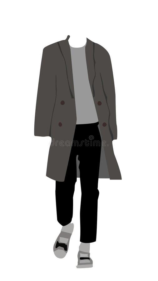Αρσενικό πρότυπο περπάτημα φορεμάτων διανυσματική απεικόνιση
