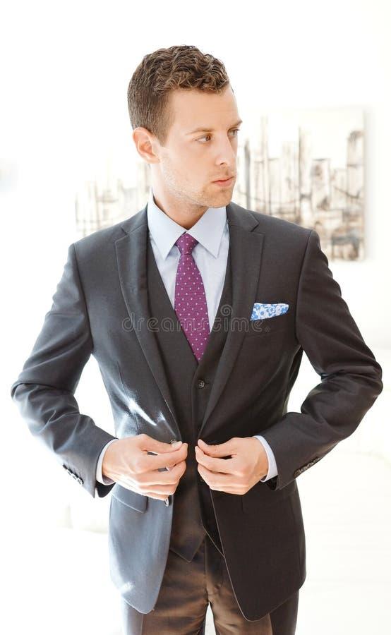 Αρσενικό πρότυπο που φορά ένα γκρίζο κοστούμι τριών κομματιού στοκ εικόνες