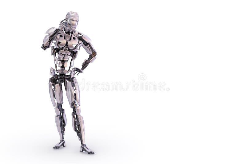 Αρσενικό ρομπότ, σκέψη ή υπολογισμός τρισδιάστατη απεικόνιση διανυσματική απεικόνιση