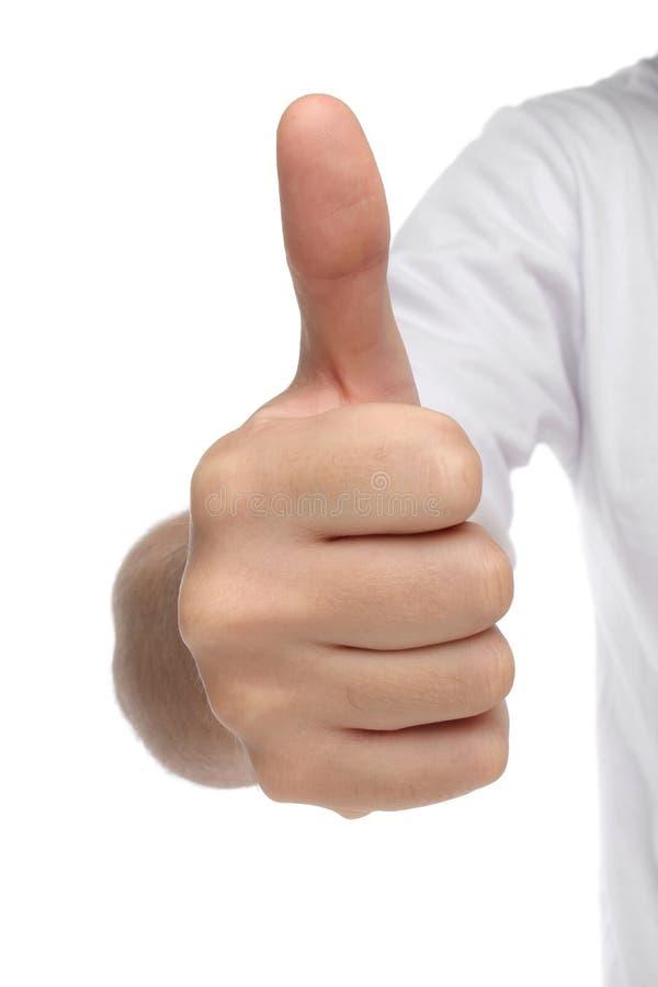 Αρσενικό σημάδι χεριών με τον αντίχειρα επάνω στοκ εικόνες
