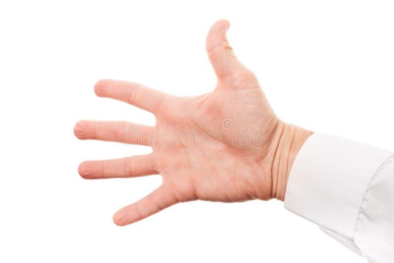 Αρσενικό χέρι με την ανοικτή παλάμη στο πουκάμισο που απομονώνεται στο λευκό στοκ εικόνες