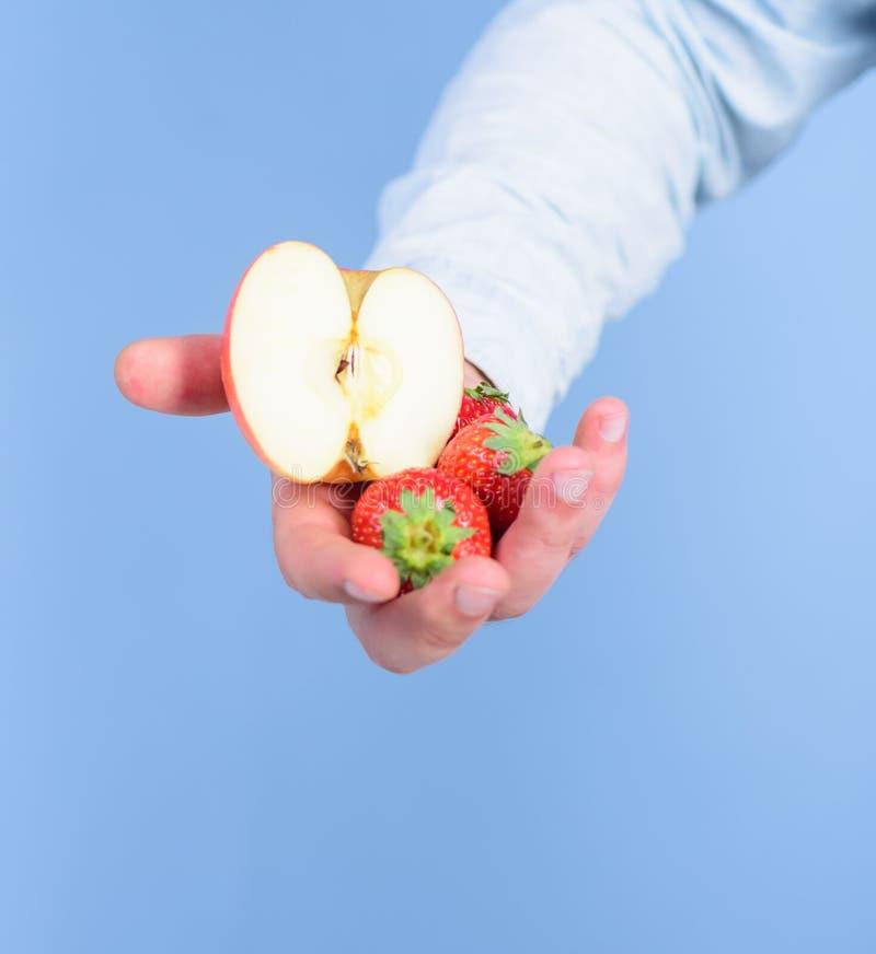 Αρσενικό χέρι με τις φράουλες και το μισό από το μπλε υπόβαθρο μήλων Οδηγίες οι ίδιοι Το χέρι προτείνει παίρνει τη φράουλα και το στοκ εικόνα