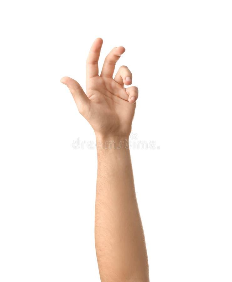 Αρσενικό χέρι στο άσπρο υπόβαθρο στοκ φωτογραφία με δικαίωμα ελεύθερης χρήσης
