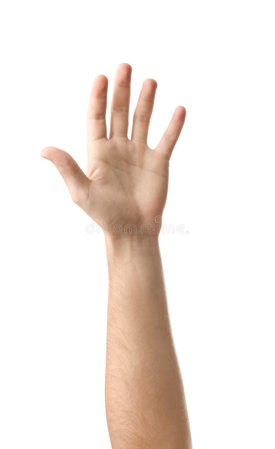 Αρσενικό χέρι στο άσπρο υπόβαθρο στοκ φωτογραφία