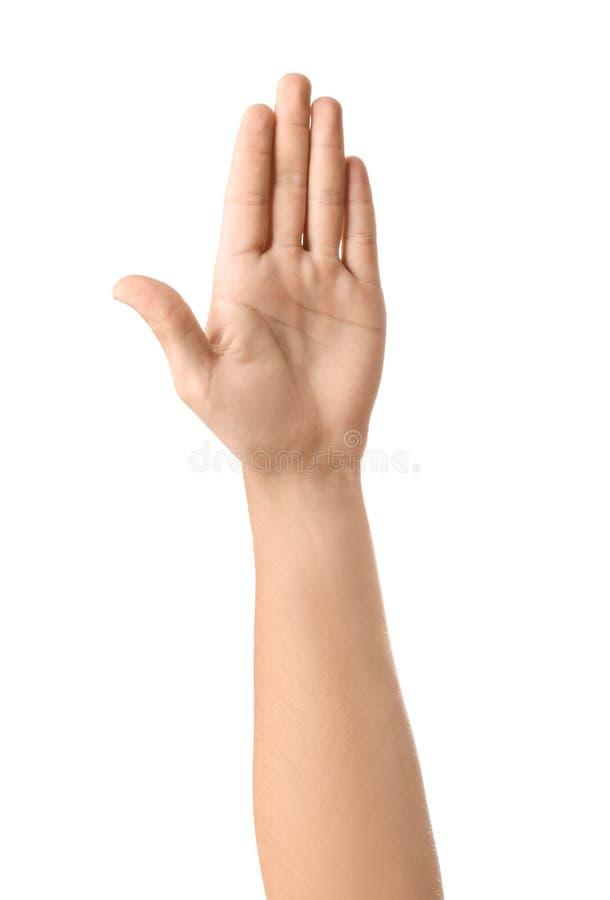 Αρσενικό χέρι στο άσπρο υπόβαθρο στοκ φωτογραφίες