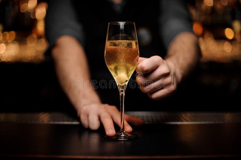 Αρσενικό bartender εξυπηρετώντας κοκτέιλ με έναν κύβο ζάχαρης στο γυαλί στοκ εικόνες με δικαίωμα ελεύθερης χρήσης