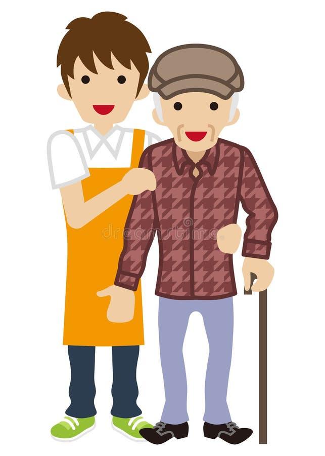Αρσενικό Caregiver που υποστηρίζει τα ανώτερα άτομα απεικόνιση αποθεμάτων