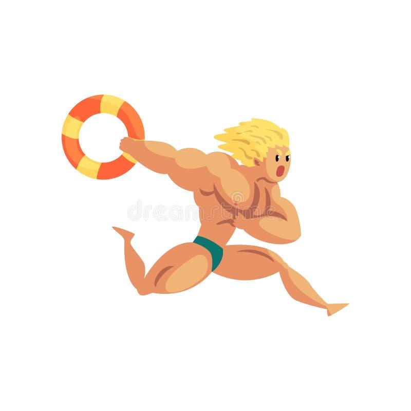 Αρσενικό lifeguard που τρέχει με το lifebuoy, μυϊκό επαγγελματικό σωτήρα charater στη διανυσματική απεικόνιση καθήκοντος σε ένα λ ελεύθερη απεικόνιση δικαιώματος