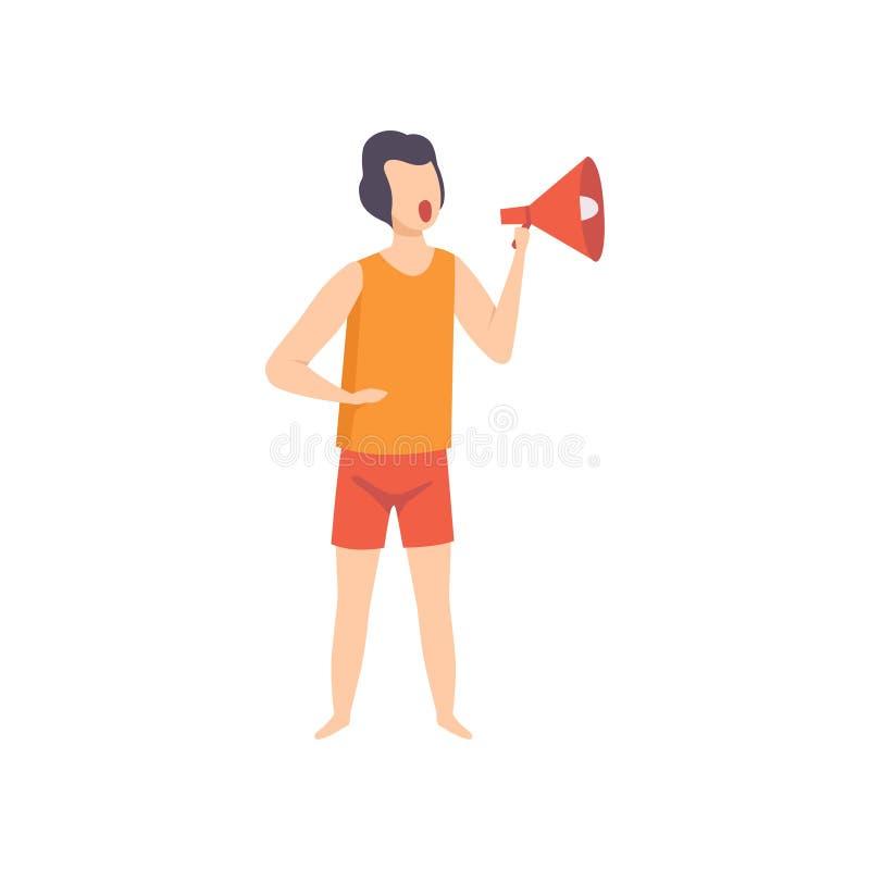 Αρσενικό lifeguard που φωνάζει megaphone, επαγγελματικός χαρακτήρας σωτήρων που λειτουργεί στη διανυσματική απεικόνιση παραλιών σ ελεύθερη απεικόνιση δικαιώματος