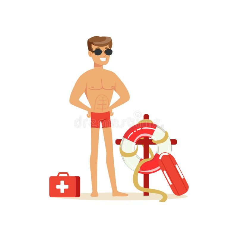 Αρσενικό lifeguard στα κόκκινα σορτς με τον εξοπλισμό στην παραλία, επαγγελματικός σωτήρας στη διανυσματική απεικόνιση παραλιών διανυσματική απεικόνιση