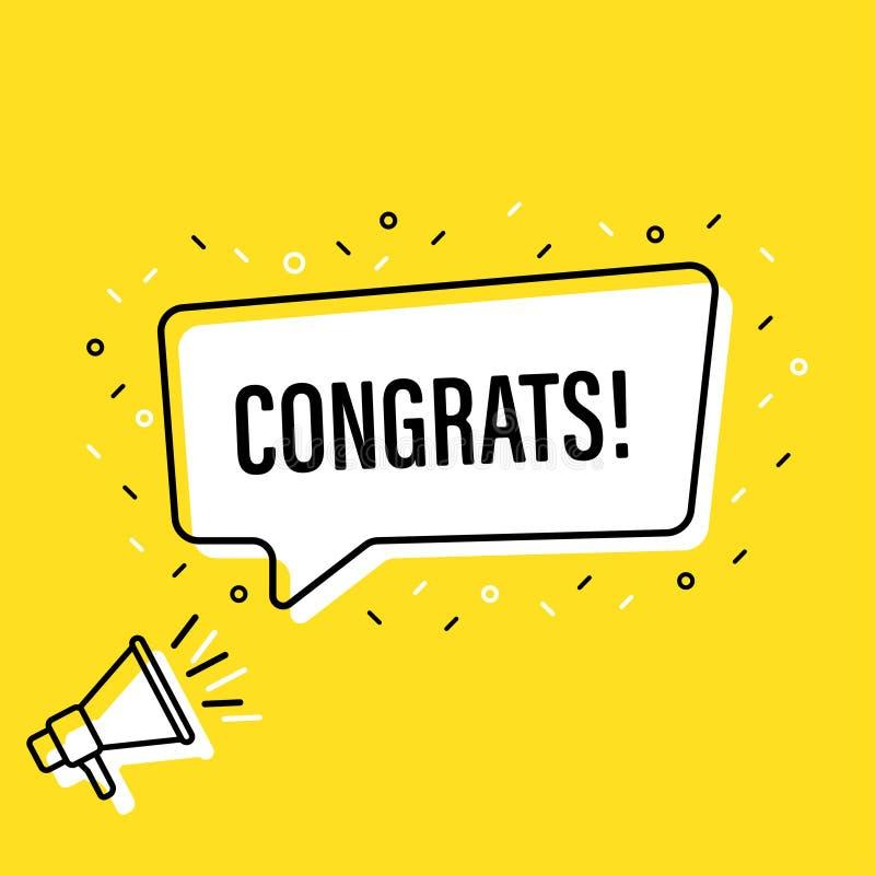 Αρσενικό megaphone εκμετάλλευσης χεριών με τη λεκτική φυσαλίδα congrats Μεγάφωνο Έμβλημα για την επιχείρηση, το μάρκετινγκ και τη απεικόνιση αποθεμάτων