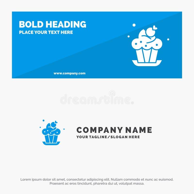 Αρτοποιείο, κέικ, φλυτζάνι, στερεά έμβλημα ιστοχώρου εικονιδίων επιδορπίων και πρότυπο επιχειρησιακών λογότυπων απεικόνιση αποθεμάτων