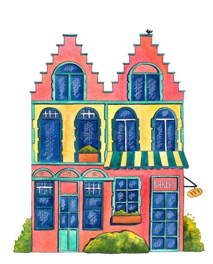 Αρτοποιείο ` σπιτιών ` Watercolor απεικόνιση αποθεμάτων