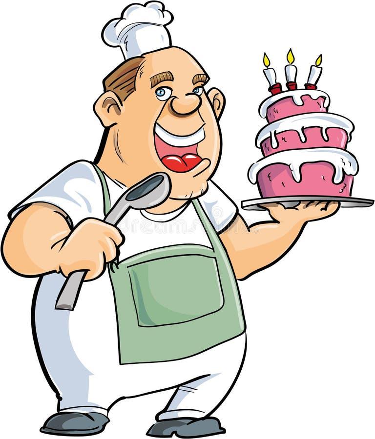 Αρτοποιός κινούμενων σχεδίων με ένα κουτάλι και ένα μεγάλο κέικ ελεύθερη απεικόνιση δικαιώματος