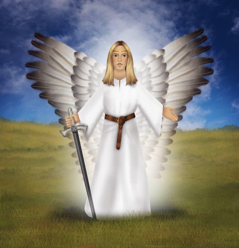Αρχάγγελος Michael με ένα ξίφος, που στέκεται σε έναν τομέα διανυσματική απεικόνιση
