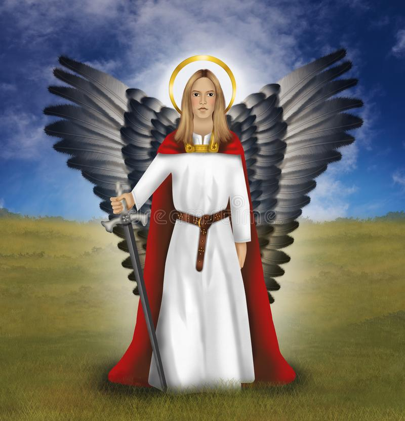 Αρχάγγελος Michael που παλεύει ενάντια σε όλο το κακό απεικόνιση αποθεμάτων