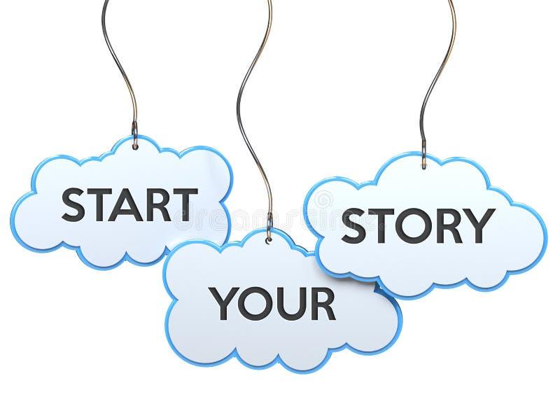 Αρχίστε την ιστορία σας σχετικά με το έμβλημα σύννεφων διανυσματική απεικόνιση