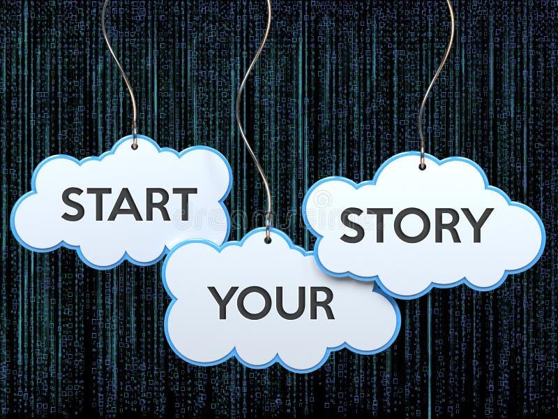 Αρχίστε την ιστορία σας σχετικά με το έμβλημα σύννεφων απεικόνιση αποθεμάτων