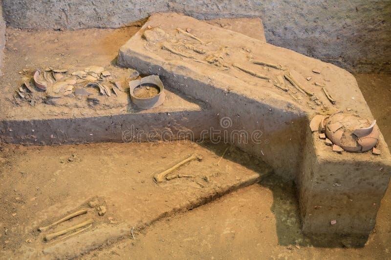 Αρχαία αγγειοπλαστική της απαγόρευσης Chiang, Ταϊλάνδη στοκ εικόνα