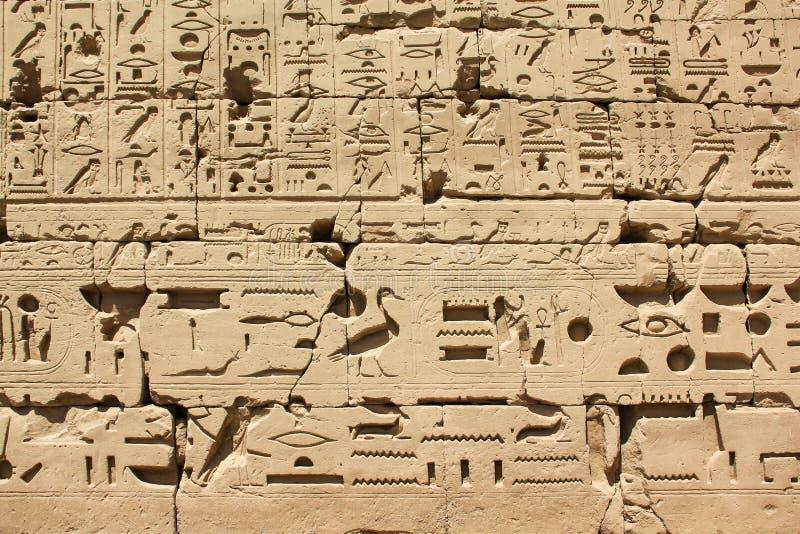 Αρχαία αιγυπτιακά ιερογλυφικά και σύμβολα χαραγμένα σε πέτρα, διακόσμηση τοιχώματος του συγκροτήματος του ναού του Καρνάκ στοκ φωτογραφίες με δικαίωμα ελεύθερης χρήσης