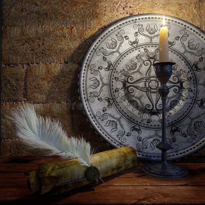Αρχαία ακόμα ζωή με την έννοια κεριών και κυλίνδρων διανυσματική απεικόνιση