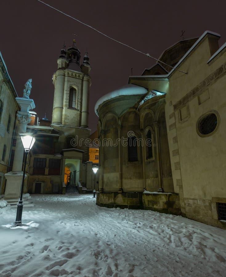 Αρχαία αρμενική στήλη ναυπηγείων εκκλησιών του ST Christopher στην πόλη Lviv, Ουκρανία στοκ φωτογραφίες