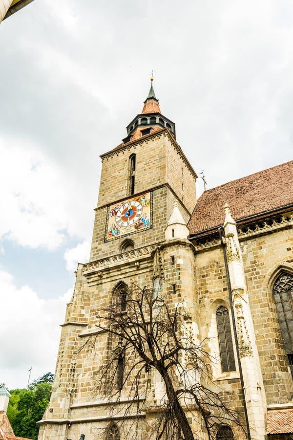 Αρχαία γοτθική μαύρη εκκλησία σε Brasov, Ρουμανία Αρχαία ευρωπαϊκή αρχιτεκτονική στην Ανατολική Ευρώπη στοκ φωτογραφία