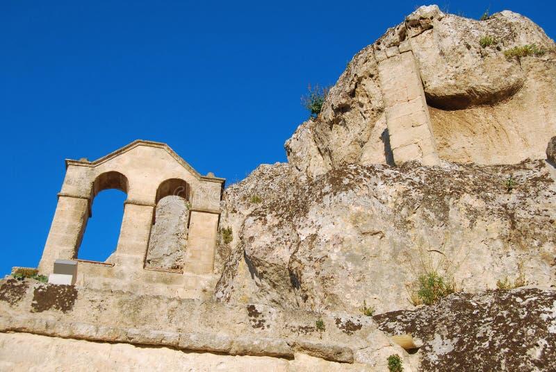 Αρχαία εκκλησία σπηλιών $matera - του Βασιλικάτα - της Ιταλίας στοκ φωτογραφία