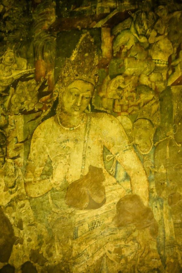 Αρχαία ζωγραφική τοίχων σπηλιών στη σπηλιά Ajanta στοκ εικόνες