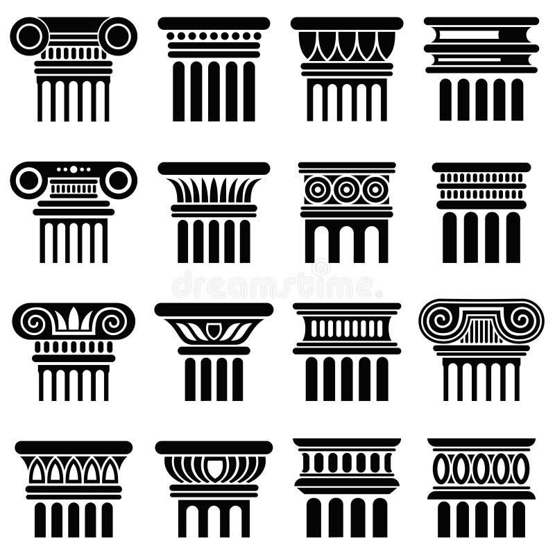 Αρχαία διανυσματικά εικονίδια στηλών αρχιτεκτονικής της Ρώμης ελεύθερη απεικόνιση δικαιώματος