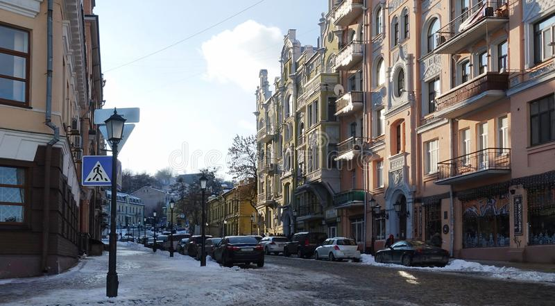 Αρχαία κάθοδος Andreevsky οδών του Κίεβου, χειμώνας στοκ εικόνα με δικαίωμα ελεύθερης χρήσης