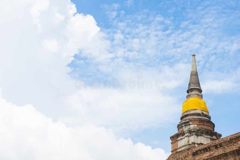Αρχαία και παλαιά παγόδα σε Wat Yai Chai Mongkol, Ayutthaya - Tha στοκ εικόνα