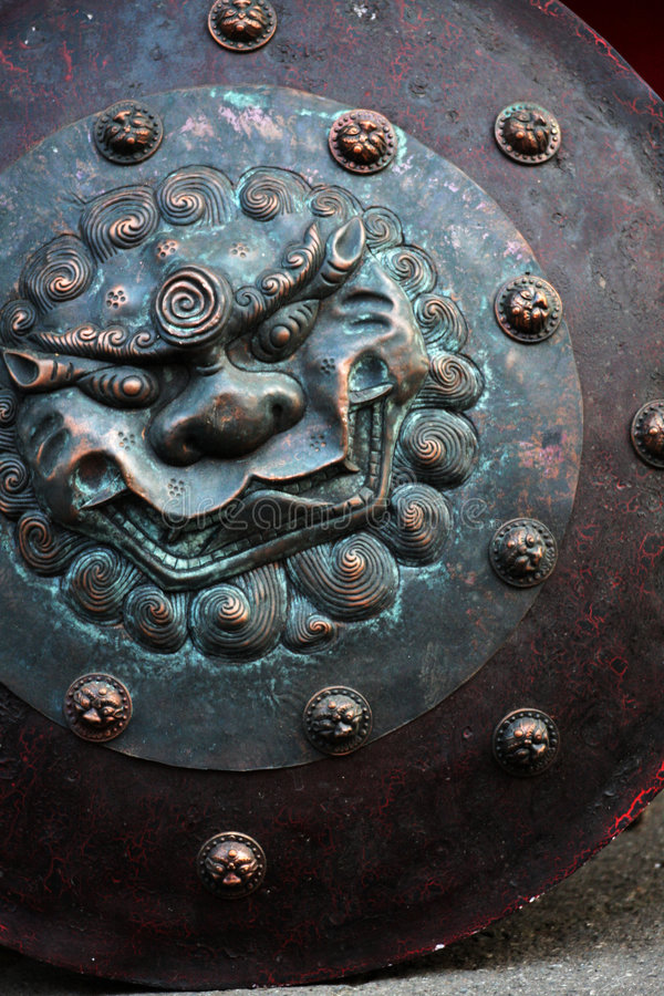 αρχαία κινεζική ασπίδα στοκ φωτογραφία με δικαίωμα ελεύθερης χρήσης