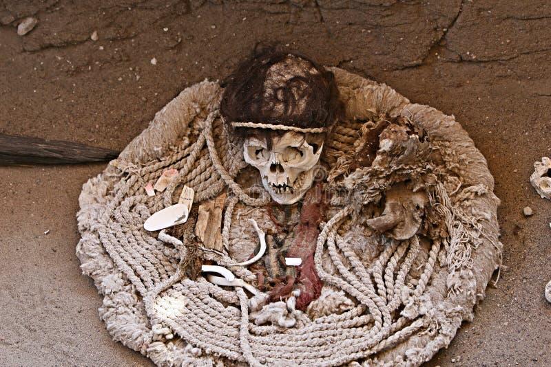 Αρχαία κρανίο και ύφασμα στοκ εικόνα με δικαίωμα ελεύθερης χρήσης