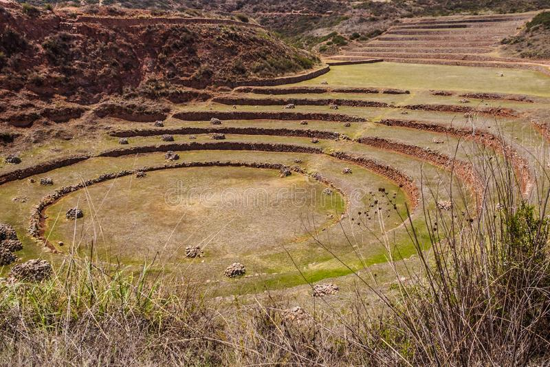 Αρχαία κυκλικά πεζούλια Inca στο γεωργικό σταθμό πειράματος Moray, Περού, Νότια Αμερική στοκ φωτογραφία με δικαίωμα ελεύθερης χρήσης