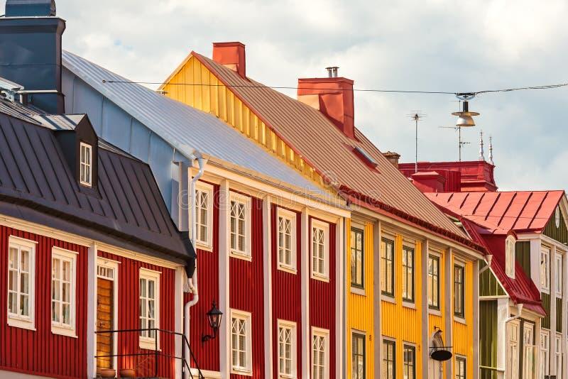 Αρχαία ξύλινα σπίτια σε Karlskrona, Σουηδία στοκ φωτογραφία με δικαίωμα ελεύθερης χρήσης