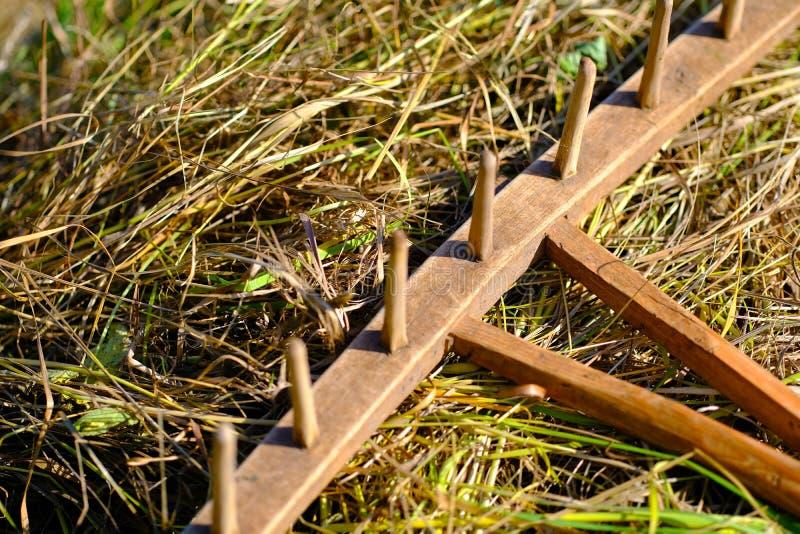 Αρχαία ξύλινη τσουγκράνα στοκ φωτογραφία με δικαίωμα ελεύθερης χρήσης