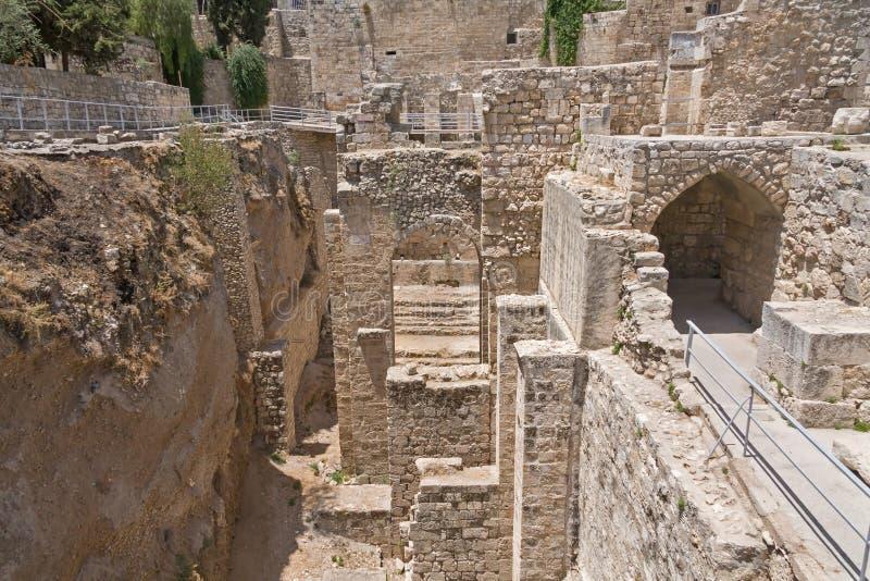 Αρχαία ομάδα των καταστροφών Bethesda στην παλαιά πόλη της Ιερουσαλήμ στοκ εικόνα με δικαίωμα ελεύθερης χρήσης