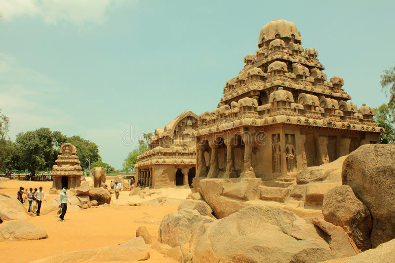 αρχαία πέντε rathas της Ινδίας λ&iota στοκ φωτογραφία