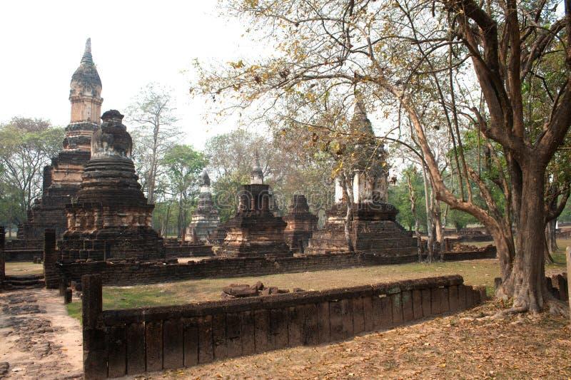 Αρχαία παγόδα σε Wat Jed Yod στο ιστορικό πάρκο Si Satchanalai στοκ εικόνα