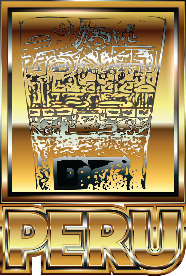 Αρχαία περουβιανή χρυσή απεικόνιση διακοσμήσεων απεικόνιση αποθεμάτων