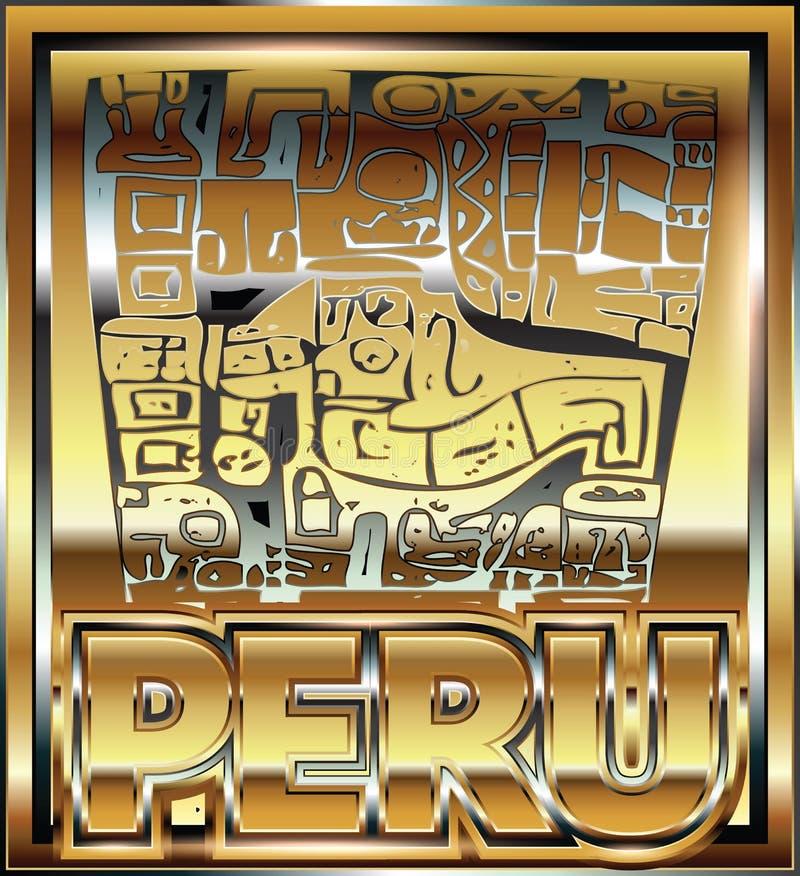Αρχαία περουβιανή χρυσή απεικόνιση διακοσμήσεων διανυσματική απεικόνιση